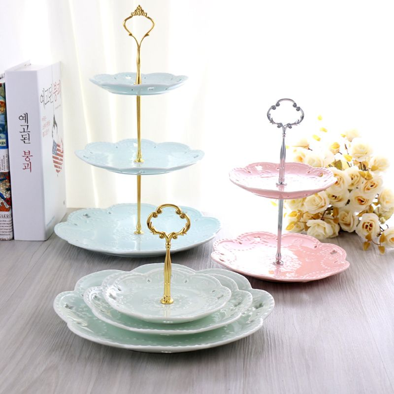 Thicken Metal 3 Tier Cake Plate Stand Plate Not Include Dessert Pastry Tray Handle Fitting Hardware Rod Party Supplies Metal Cake Stand Cake Plates Cake