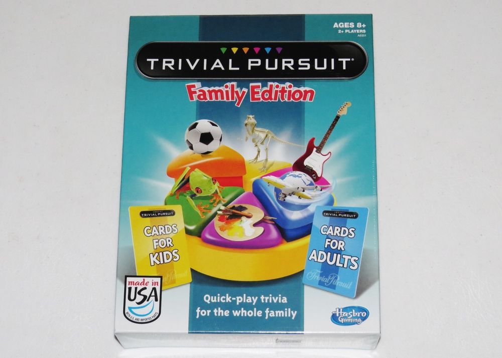 New trivial pursuit family edition adult kids cards