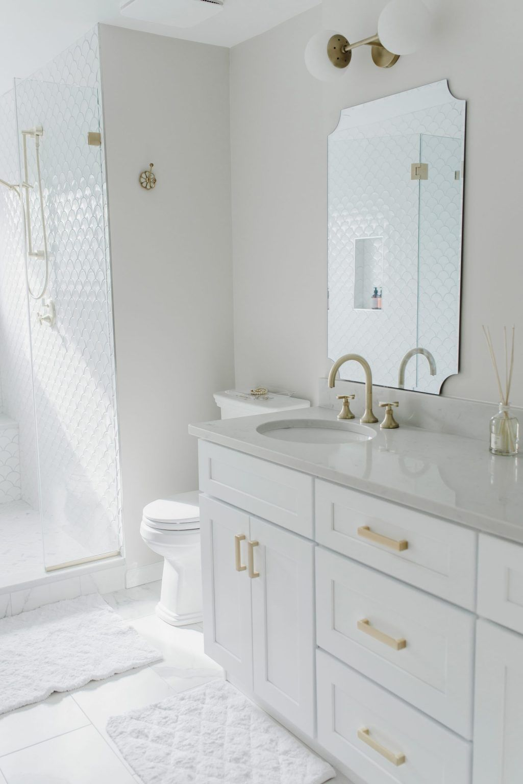 My Luxurious White Gold Master Bath Reveal Style Inherited White Marble Bathrooms Gold Bathroom Small White Bathrooms