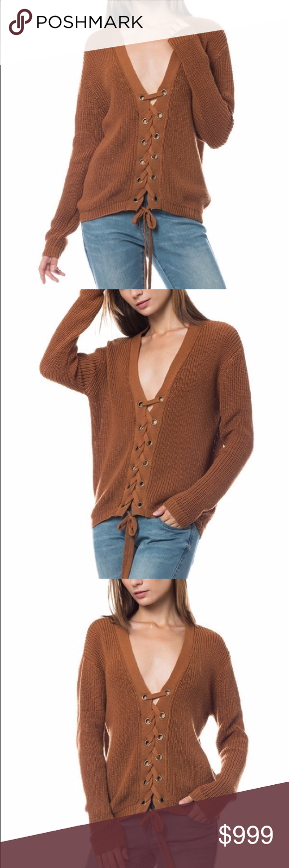 🔥 Lace up sweater 🍂 •Chunky lace up knit sweater. Perfect for fall, will keep you nice and warm. Made of Polyester. Could be worn with a turtle neck underneath or a lace Bralette ✨🔥❤  •hot style also sold on our website at www.shopkeally.com so won't be here for long. 🌸 best fall style ❤ Sweaters V-Necks