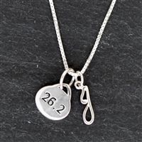 Create your own unique, personal 26.2ning necklace with our Sterling Silver Oval 26.2 Marathon and Sterling Silver Initial Necklace. Start with our simple but stunning oval 26.2 charm paired with a sterling silver initial charm.