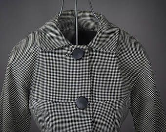 Vintage 1940's Shepards Check Wool Fitted Jacket Ladies, Vintage 1940's Houndstooth Wool Fitted Ladies jacket, Retro 40's Fitted Jacket