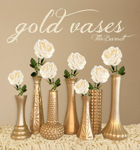 Gold Brassy Metallic Vases Hand Painted Vintage Upcycled