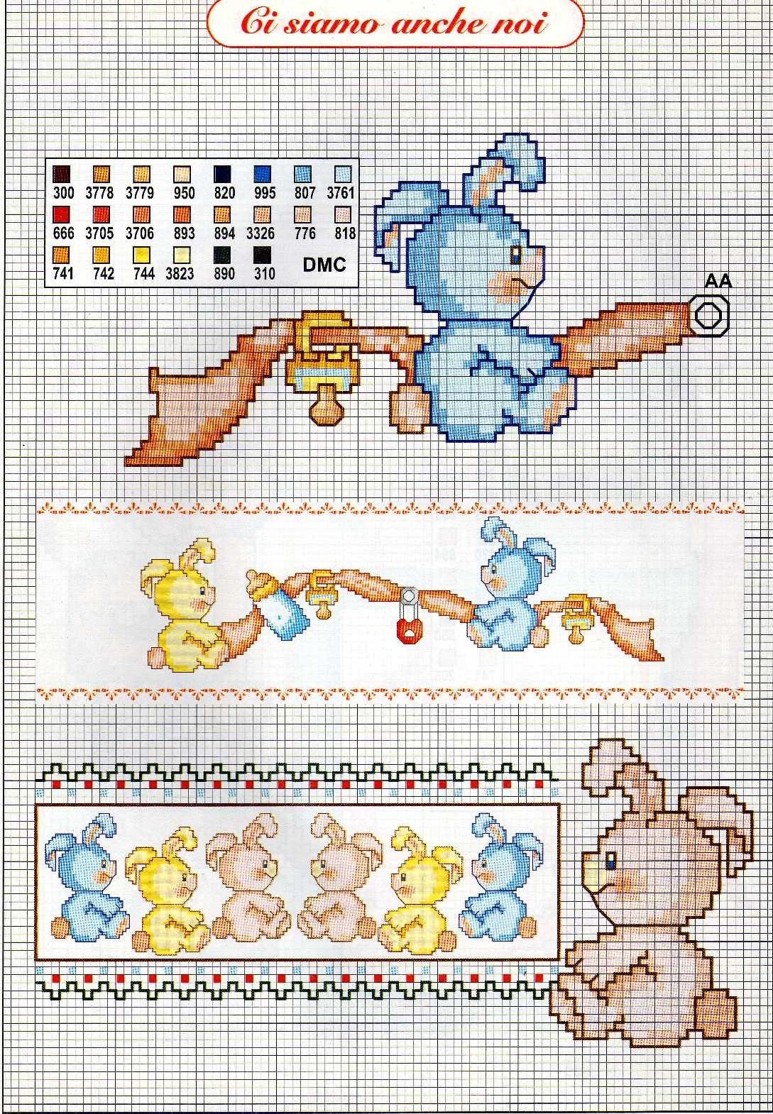 Bambini coniglietti ciuccio biberob1 for Schemi punto croce bambini disney