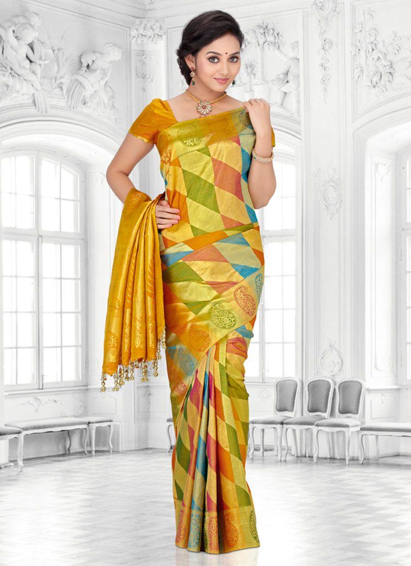Yellow silk saree fab multicolored pure kancheepuram silk saree  indian wear