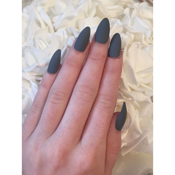 Matte Grey Almond False Nails Almond Nails Designs Nails Almond Acrylic Nails