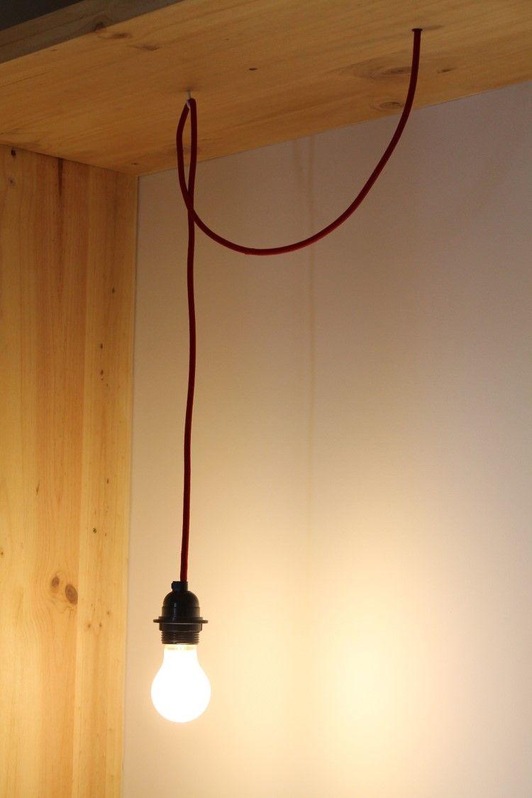 ampoule suspendue fil rouge marion tournadre d coration. Black Bedroom Furniture Sets. Home Design Ideas