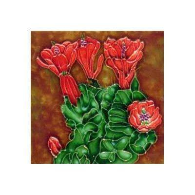 Continental Art Center Cactus with Red Flowers Tile Wall Decor