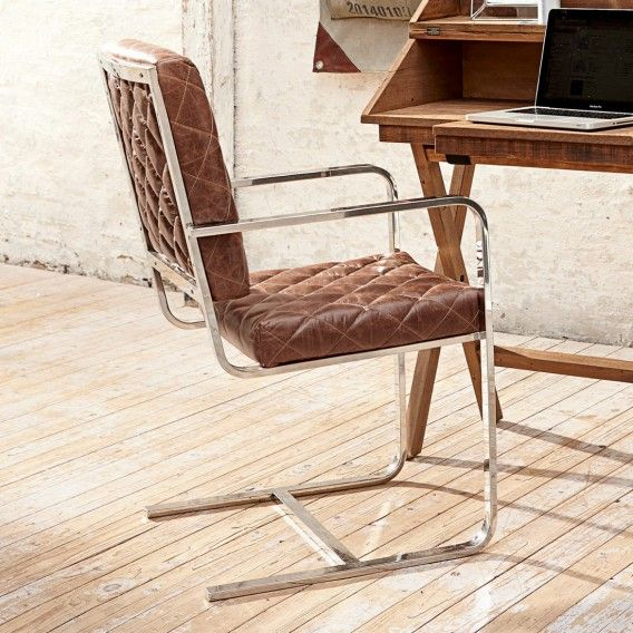 Stuhl Elbert Rahmen Edelstahl Bezug Echtes Leder Braun Silber Stuhle Lederstuhle Stuhl Leder