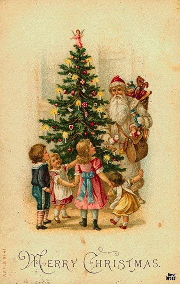 Как книжка, рождественская открытка винтаж