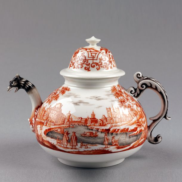 Teapot, Meissen porcelain factory, 1720-1730. Museum no. C.75 This teapot was made by the Meissen factory but decorated in the distinctive style of Ignaz Preissler, probably the best known of all the independent enamellers (hausmaler) of Meissen porcelain
