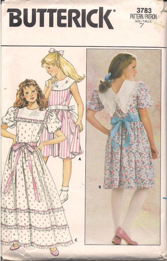 1986 Retro Girls Dress Pattern Old by TexasTangledThreads on Etsy ...