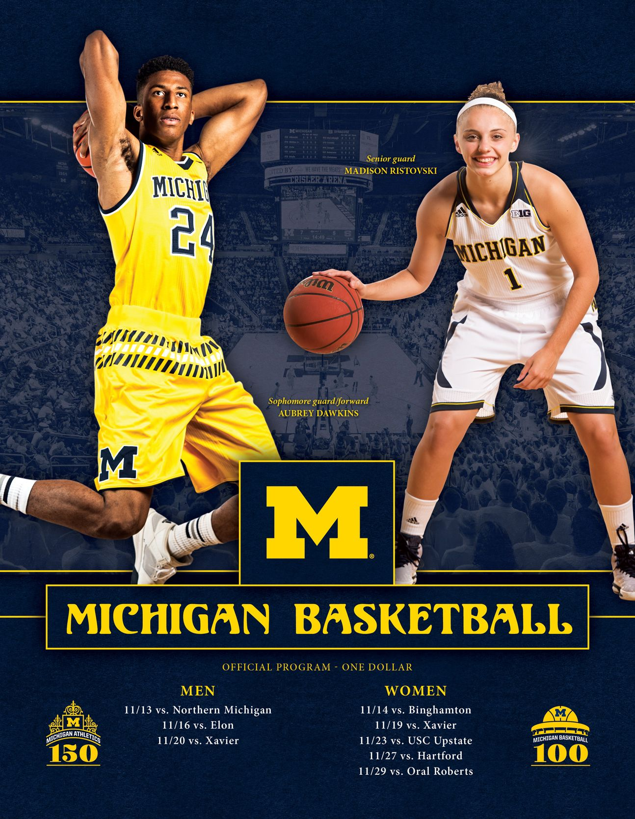 2015 16 Michigan Men S And Women S Basketball Official Program Vs November Opponents Including Michigan Usc Basketball Basketball Equipment Xavier Basketball