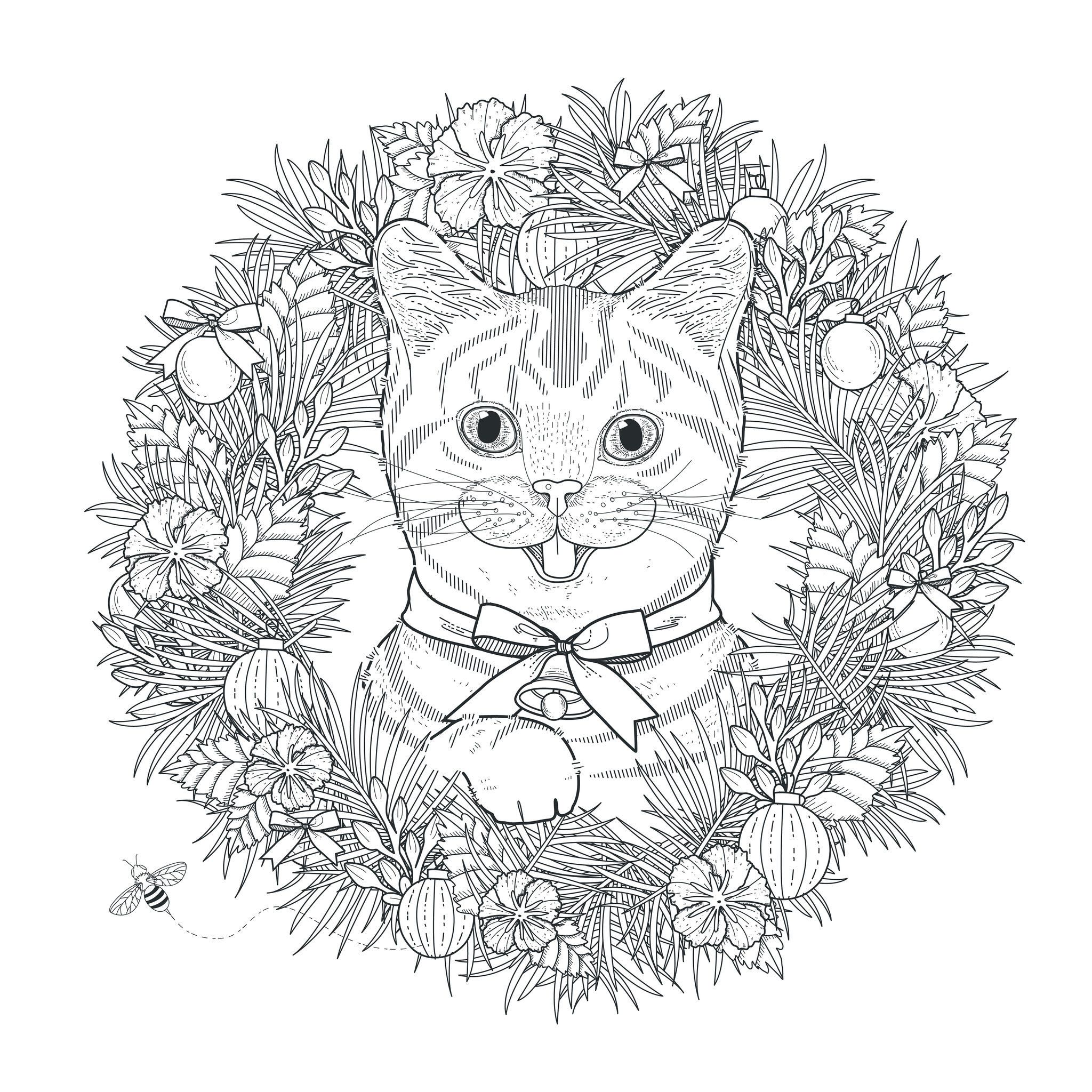Mandala Cat Mandalas Coloring Pages For Adults Just Color