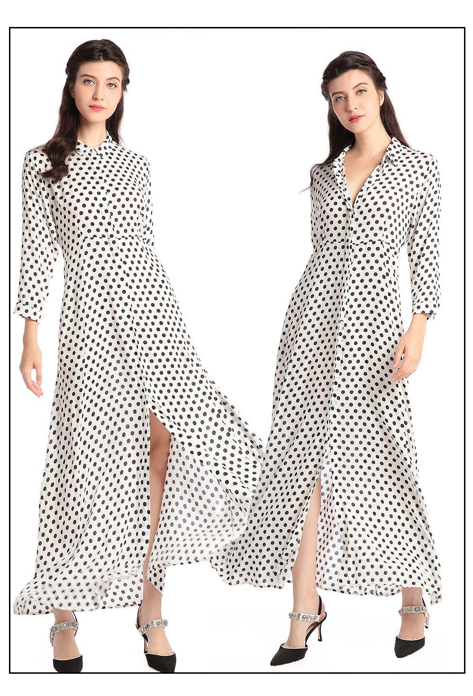 Boho style long dress women long sleeve shirt dresses dot print Vintage  black maxi dress vestidos de festa muslim robe kaftan 01 2f4ef1af1