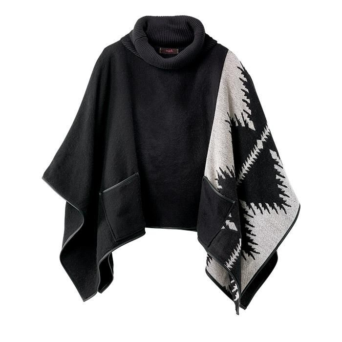 mark. Hands Free Poncho Sweater is the best of a turtleneck and a poncho in one! This piece will have you looking boho chic in this black and grey large print.Acrylic/polyester (excluding trims). Imported.