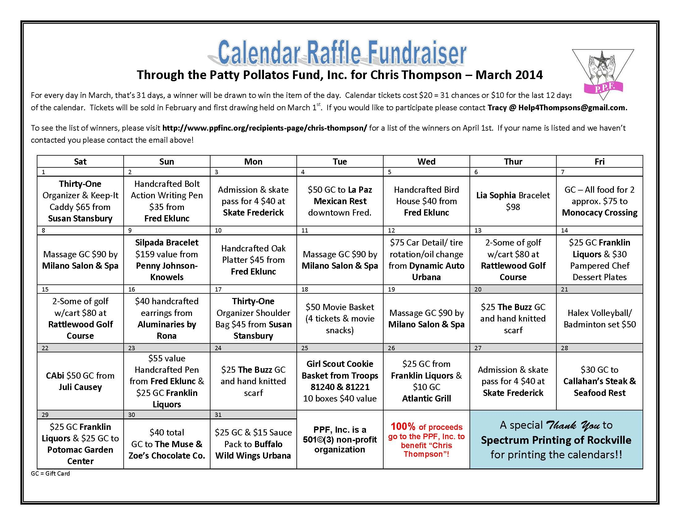 Calendar Raffle Ideas : Thompson raffle fundraiser calendar final pta