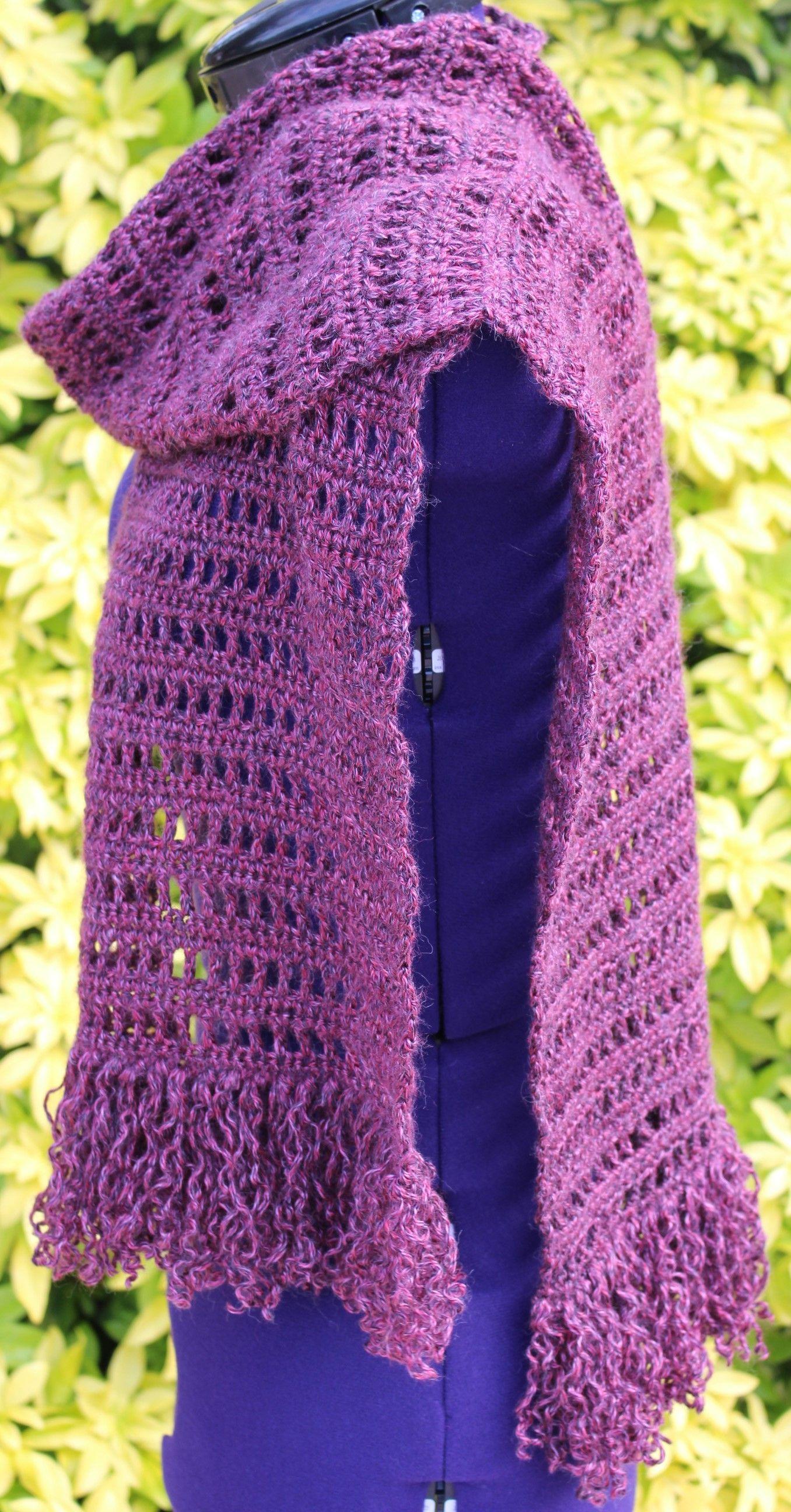 Echarpe de couleur myrtille crochetée en laine http   www.alittlemarket.com 78a65505bce