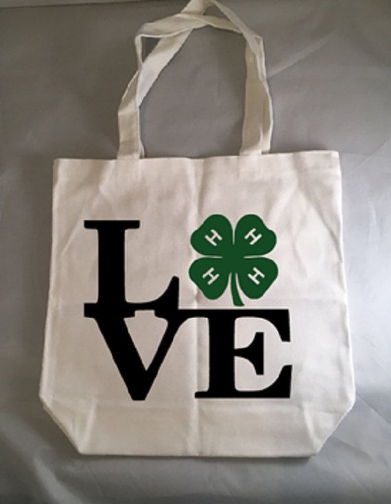 4H Tote Bag 4-H Love Clover Canvas Tote Bag Stock Show