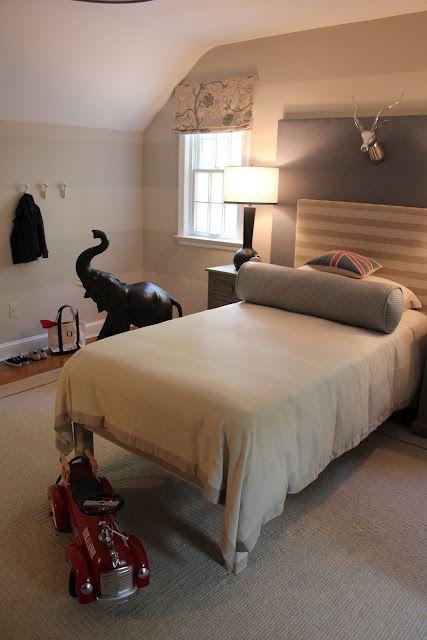 Blue Grey Tan Fire Truck Elephant Vintage Digger Chevron Chair Animal Head Wall Mount Attic Renovation Childrens Bedrooms Attic Remodel