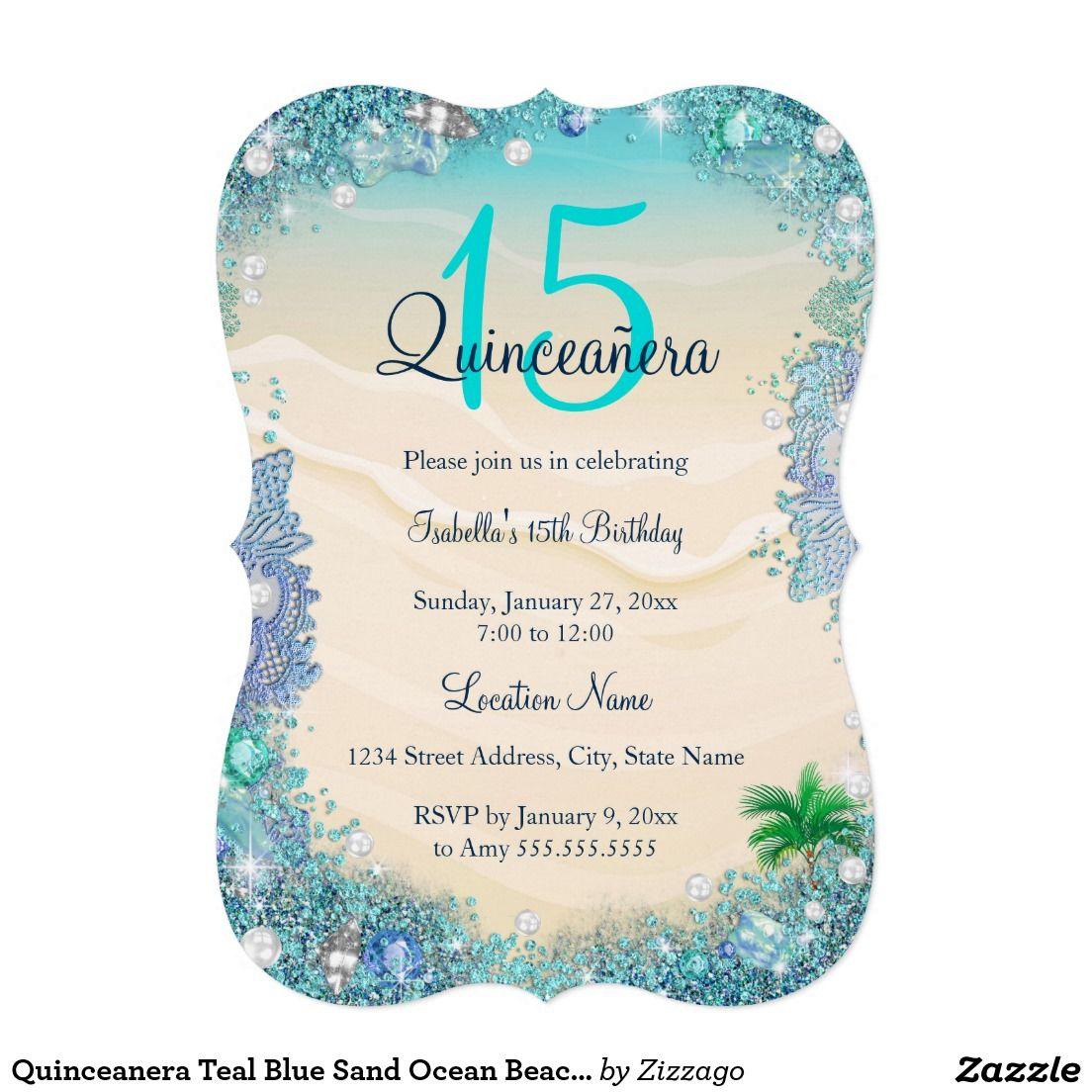 Quinceanera Teal Blue Sand Ocean Beach Birthday Invitation ...