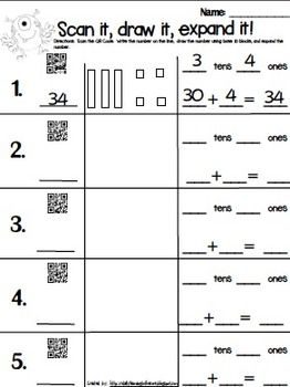 expanded form kindergarten  QR Code Expanded Form with Base 9 Blocks | Math | Math ...