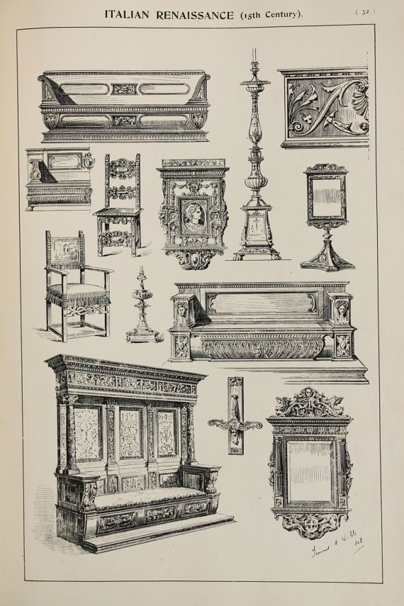 Items Similar To Italian Renaissance Furniture Designs Large Antique Black White Print Interior Design Arts And Crafts On Etsy