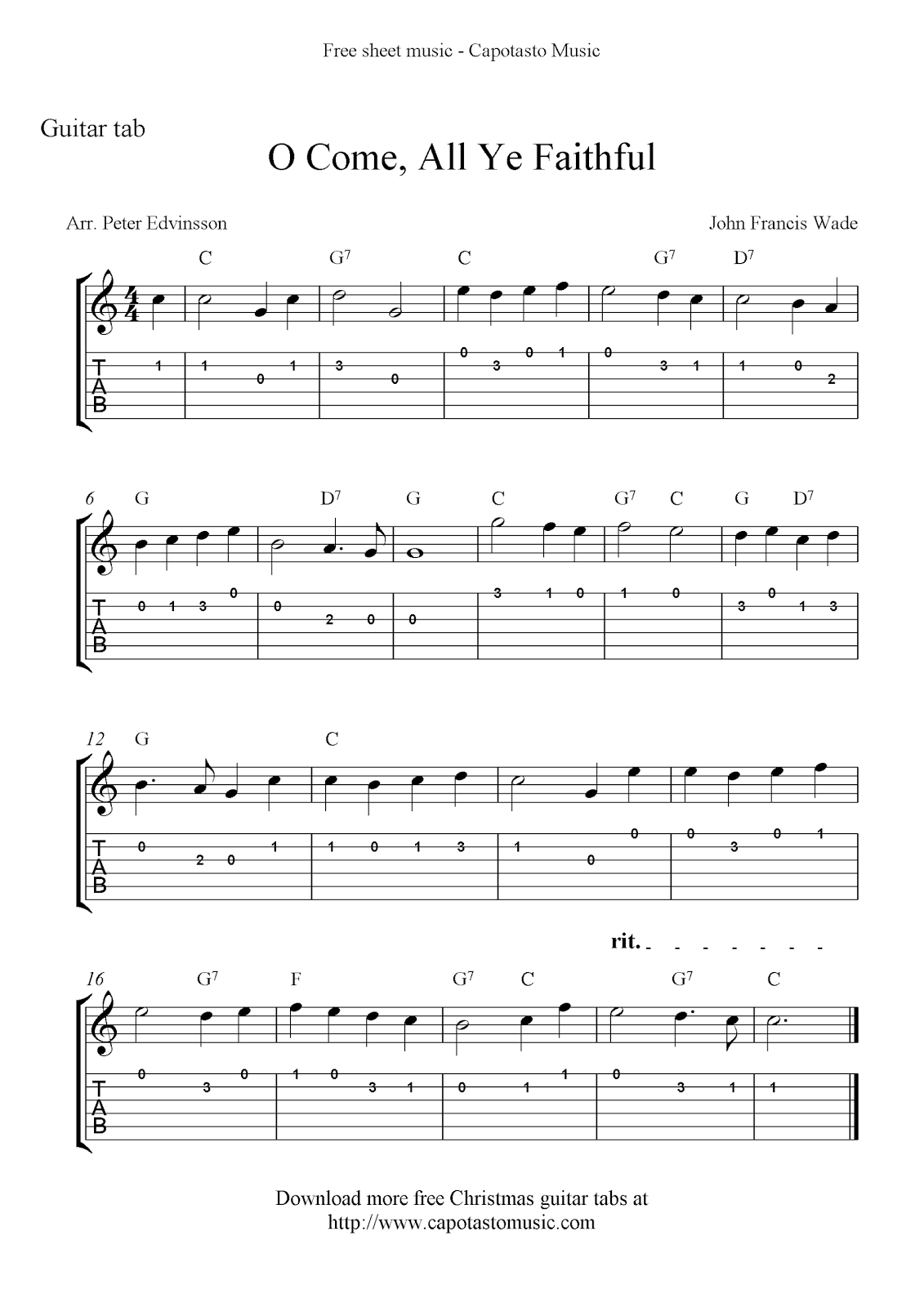 Free Printable Sheet Music O Come, All Ye Faithful, easy