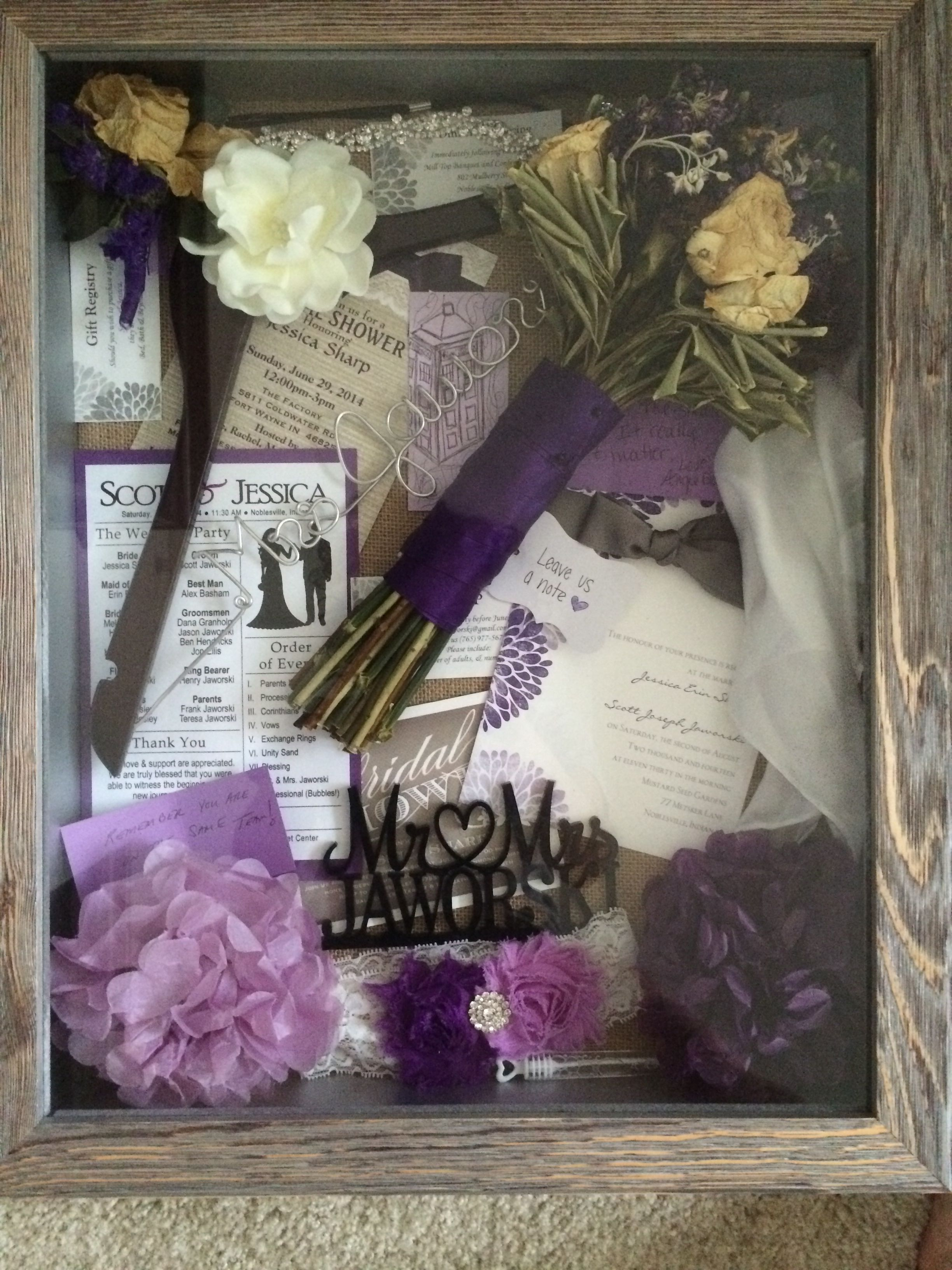 Shadow box for wedding mementos. I included my bouquet ...