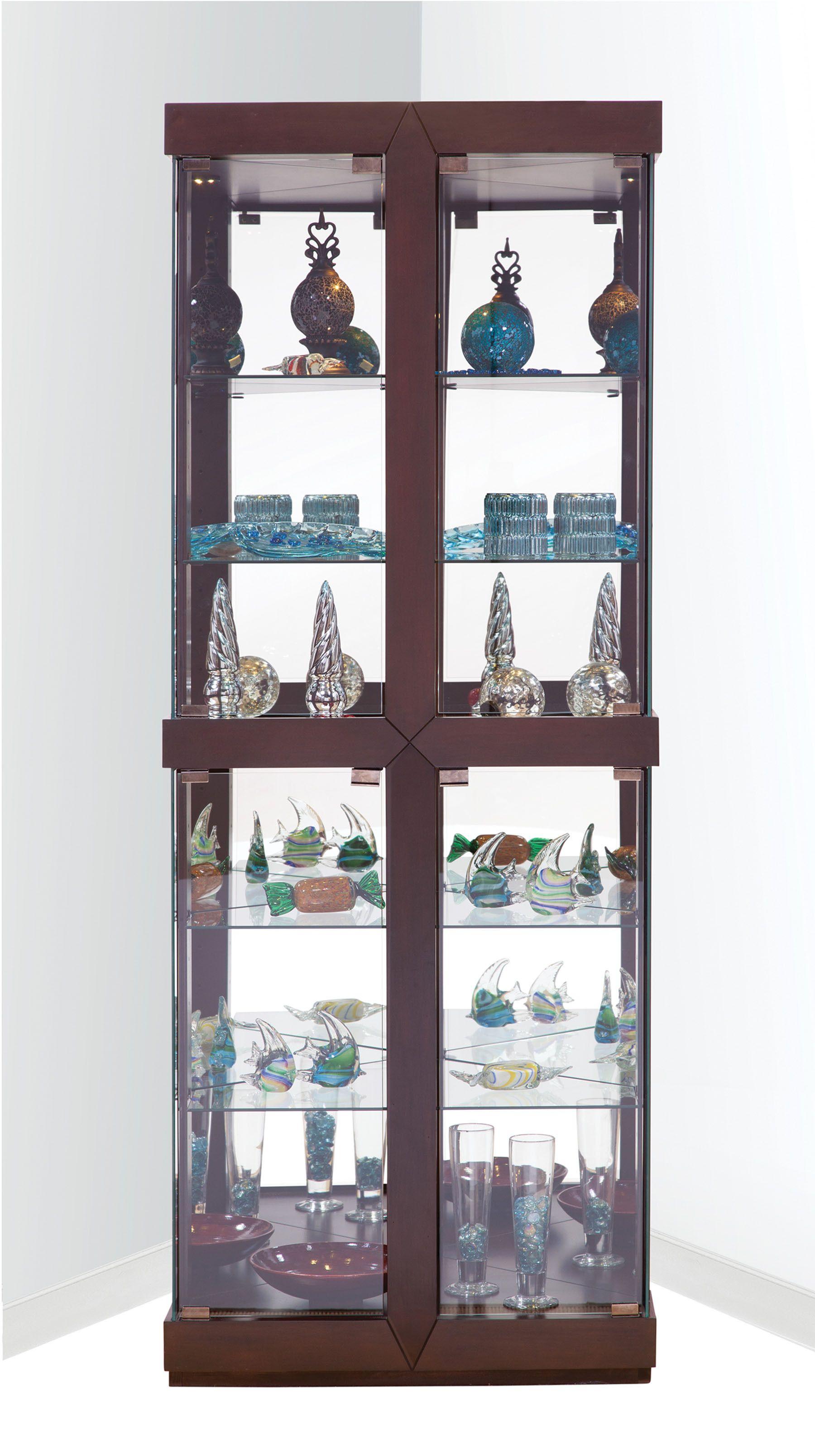 Rohe corner curio cabinet in espresso philip reinisch furniture