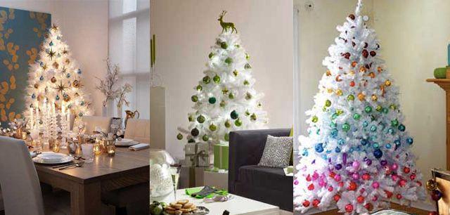Decorar un arbol blanco navideno esferas de navida - Decorar arbol de navidad blanco ...
