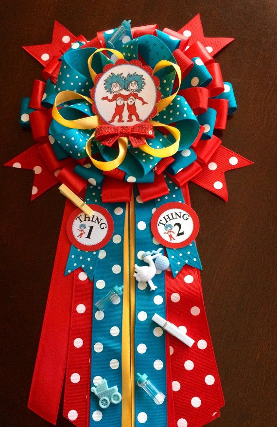 Cat In The Hat Mommy To Be Corsage  Thing 1 Thing 2 Baby Shower  Dr Seuss  Corsage  Dr Seuss Baby Shower