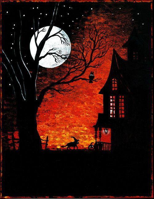 ACEO PRINT OF PAINTING RYTA WITCH HALLOWEEN HAUNTED HOUSE CEMETERY FOLK RUSTIC