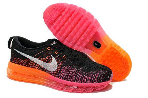 Buy Women Nike Flyknit Air Max Flyknit Black Silver Fireberry Hot Lava
