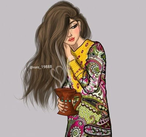 Arabic Art And Arabic Cartoon Image Cute Girl Drawing Girl Sketch Digital Art Girl