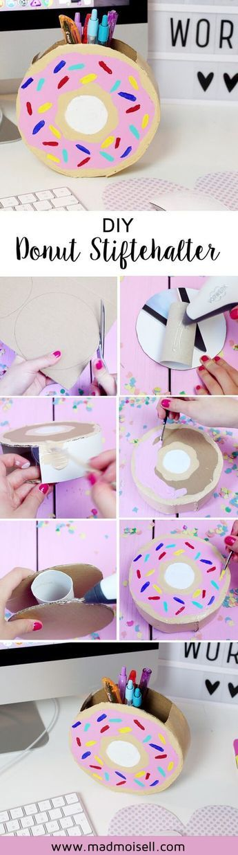 DIY Donut Stiftehalter aus Klopapierrrollen selber basteln #dekobasteln