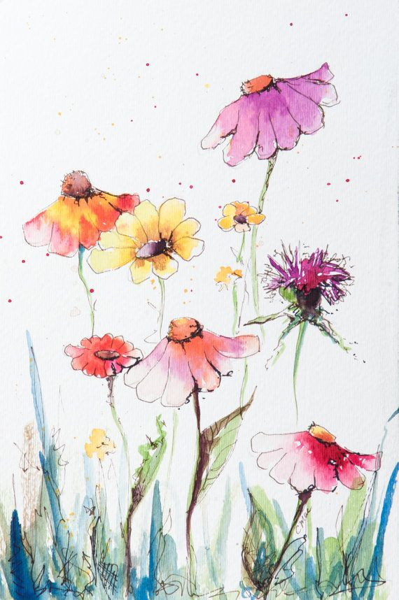 Watercolor Wildflowers 1 Original Watercolor Flowers Paintings