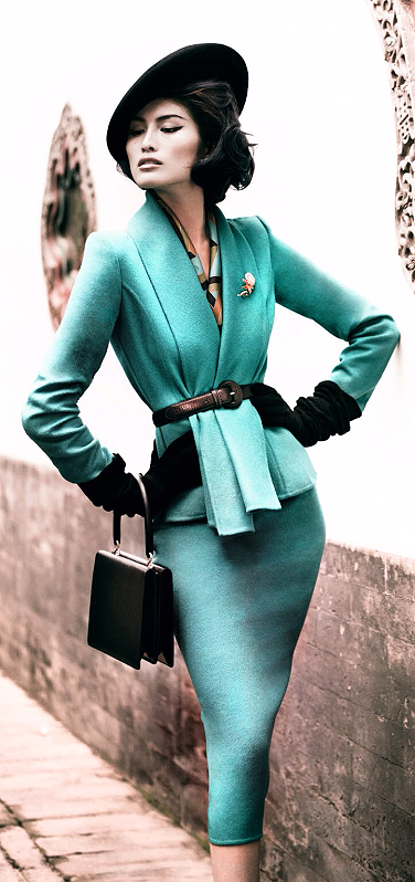 Suit, Givenchy ~ Sui He by Mario Testino for Vogue China December 2013. Love this Retro look.