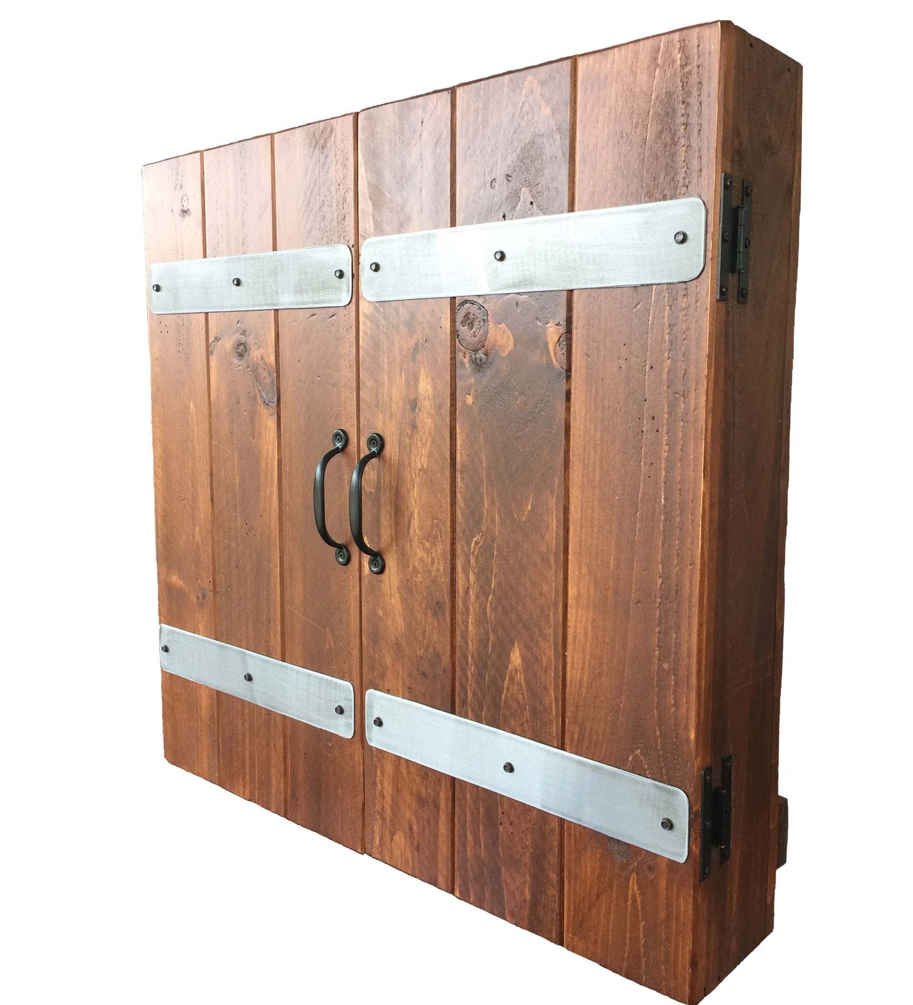Custom reclaimed wood dart board cabinet pinteres for Custom wood cabinets