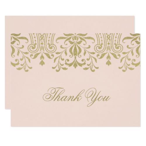 Vintage Wedding Thank You Cards Flat Thank You Note Card Gold