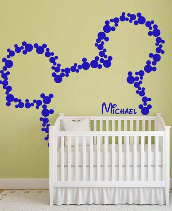 Vinyl Wall Decal disney Mickey Mouse head mice ears custom baby name ...