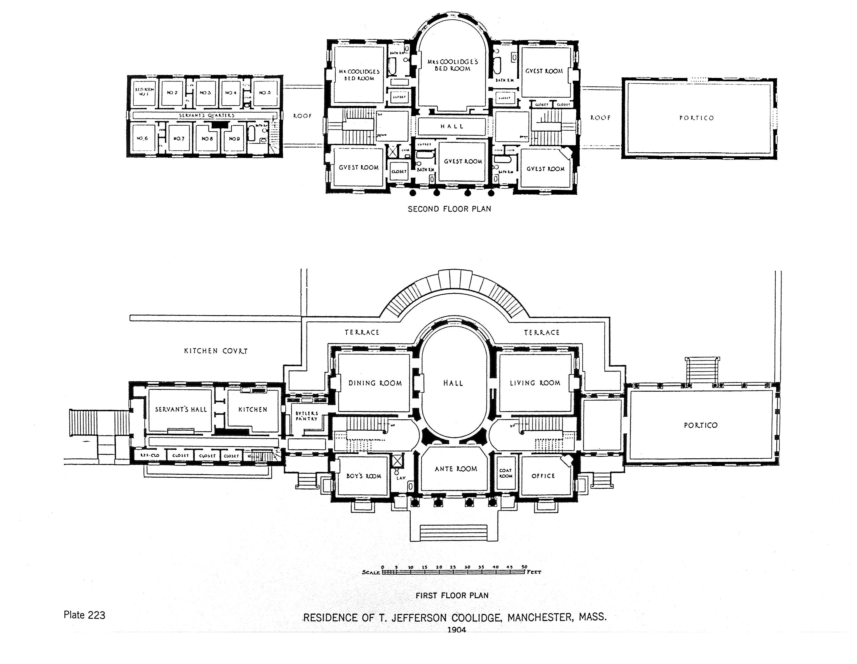Marble Palace Floor Plans Residence Of T Jefferson Coolidge Manchester Mas 1904 2880 2231 House Plans Mansion Mansion Floor Plan Floor Plans