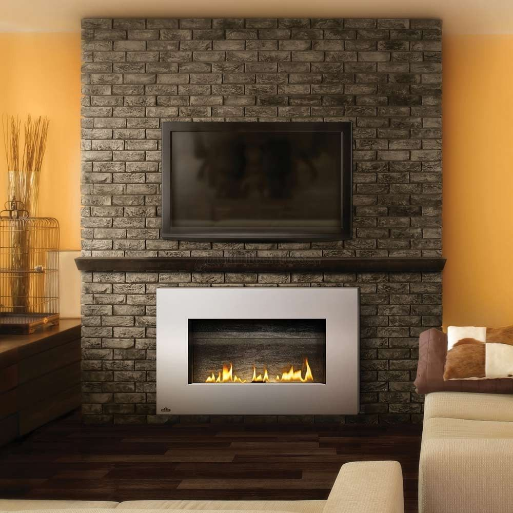 Splendid wall mounted tv interior design with under tv wall mounted gas fireplace attached on rustic