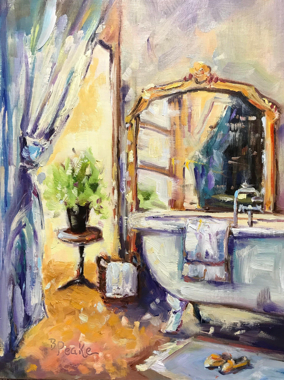 Original Oil Painting Bath Room Decor