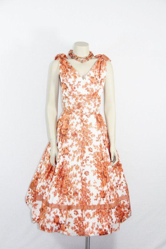 1950s Vintage Dress - Cotton Sundress - Novelty Print Floral Ikat Full Skirt Deep Low V Back