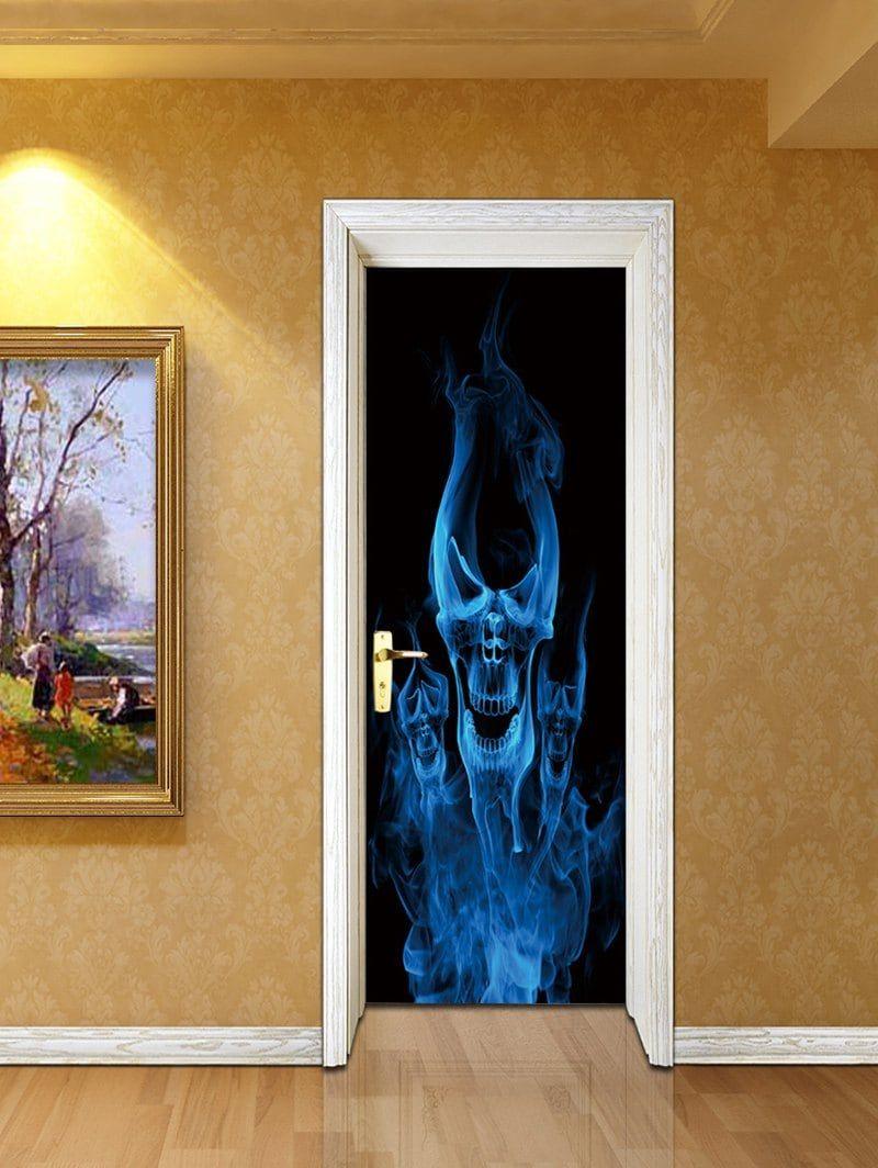 Halloween skeleton ghost print decorative door stickers halloween