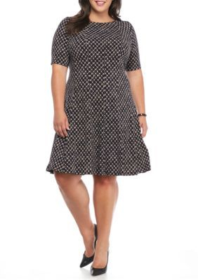 682d12926a565 Connected Apparel Midnight Plus Size Printed Fit and Flare Dress ...
