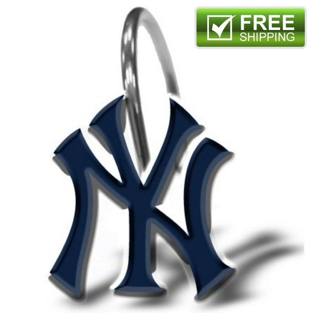 Mlb New York Yankees 12 Piece Shower Curtain Ring Set Clips Hooks Drapery Home Amp Garden Bath Shower Curta New York Yankees Shower Curtain Rings Yankees Ny yankees bathroom decor