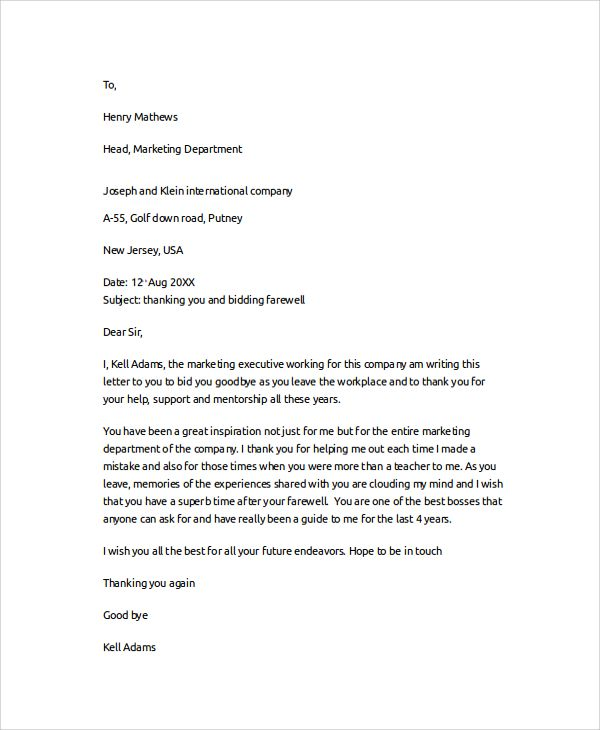 sample thank you letter documents pdf word colleagues boss - resignation email template