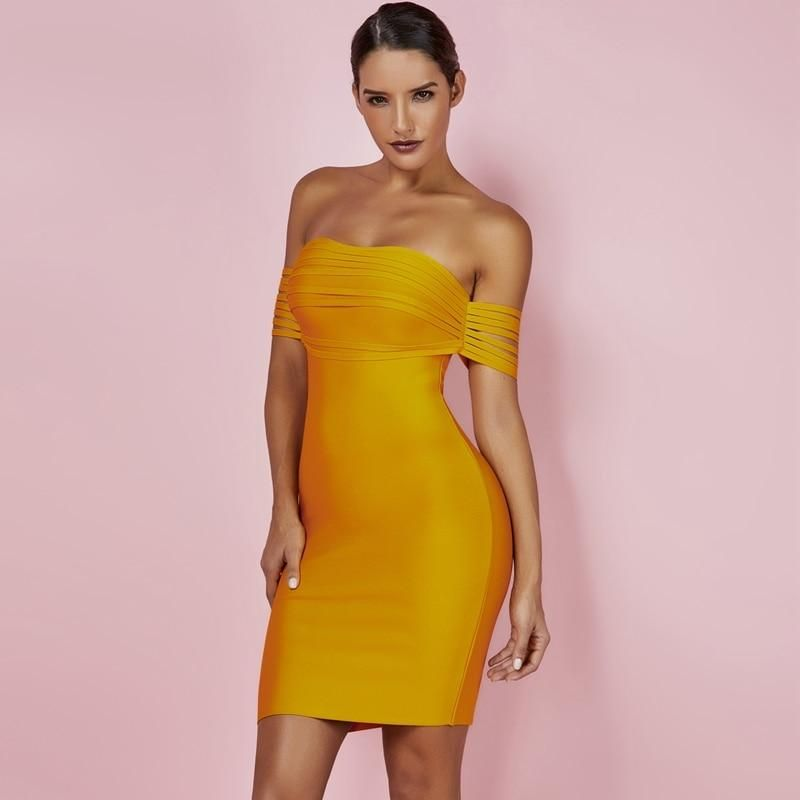 c89612cf9899 Yellow Fringe Sexy Off Shoulder Bandage Dress in 2019 | EK CHIC ...
